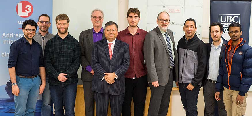 L3 Mapps president with NAME professors and students